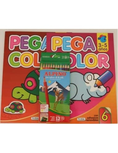 Pack 2 libros pega y colorea y cajas de lápices de colores