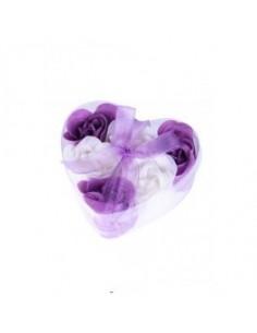6 Flores de Jabón en estuche Corazón