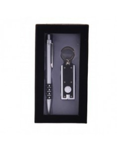 Set de bolígrafo y llavero con linterna LED