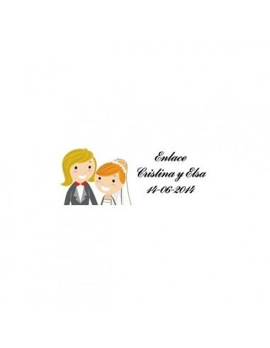 Lote 68 etiquetas adhesivas boda