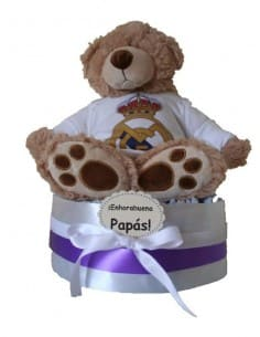 Tarta de pañales Real Madrid Osito