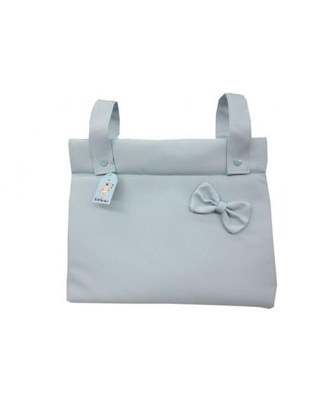 Bolso panera  polipiel bordado con el nombré del bebé