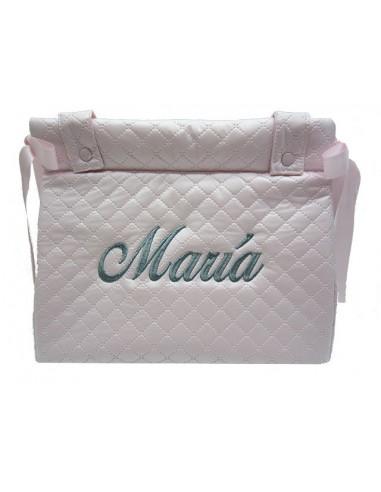 Bolso panera acolchado bordado con el nombré del bebé