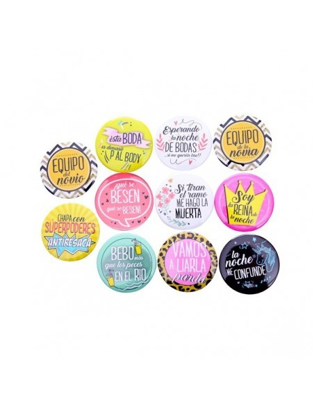 Lote 10 chapas frases Weeding
