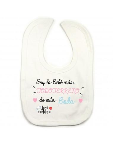 Babero Soy la Bebé más...TODOTERRENO de esta Boda.