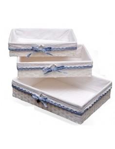 Bandeja forrada de tela con puntilla y lazo azul