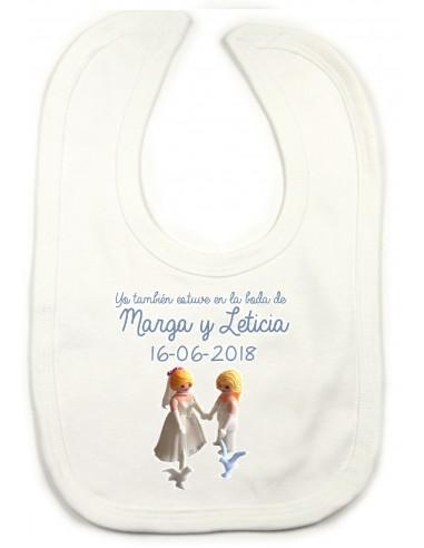 Babero Boda Playmóvil Chicas ''Palomas''