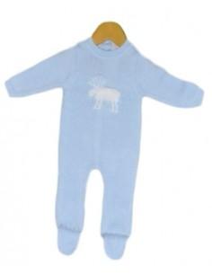 Pelele lana reno Chocolat Baby Azul