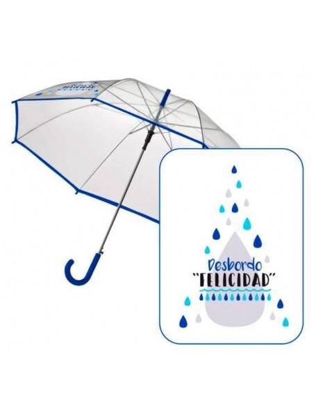Paraguas trasparente frase Desbordo Felicidad