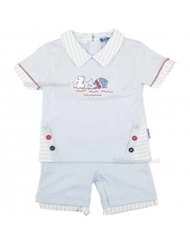 Conjunto de camiseta y pantalón corto marinero