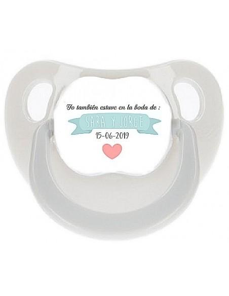 Chupete personalizado boda corazón