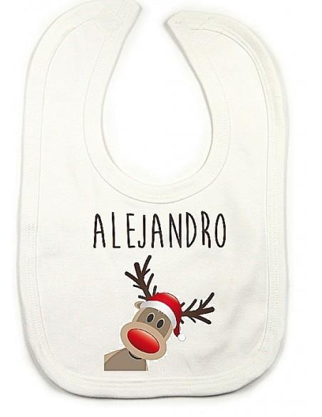 Babero personalizado Reno Navidad
