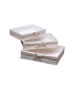 Bandeja forrada de tela con puntilla y lazo beige