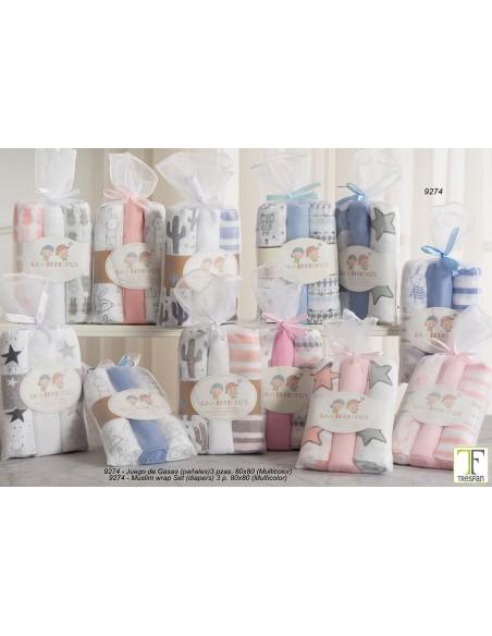 Pack 3 muselinas de algodón