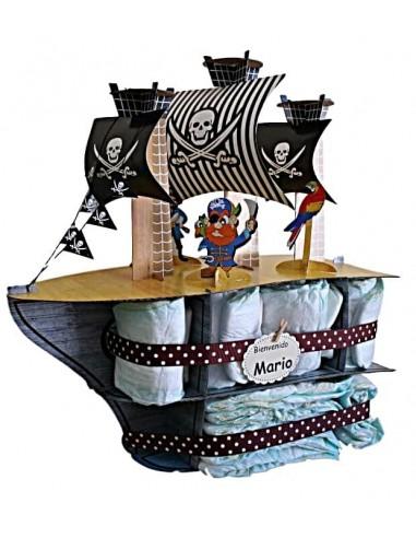 Tarta de pañales Barco Pirata